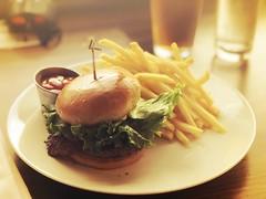 Waygu beef burger (sarahstierch) Tags: monterey montereybayaquarium food dining lunch california waygu beef burger hamburger frenchfrieslettuce