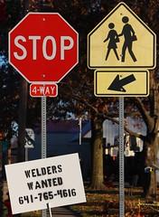 Welders Wanted (pics by ben) Tags: newvirginia iowa sign welder helpwanted stop