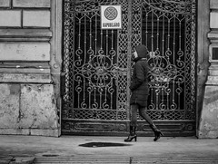 Budapest in black and white (PhotoFreakx) Tags: woman girl blackandwhite bw architecture gate metropolis urban streetphotography city street hungary budapest