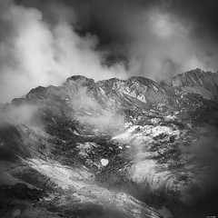 Among the clouds (Rico the noob) Tags: dof rock d850 2470mm nature mountains outdoor published 2470mmf28 clouds switzerland stones snow sky saentis monochrome schweiz rocks 2018 landscape blackandwhite fog mountain bw ice