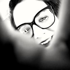 B&W (camilleromane1) Tags: selfie portrait femme autoportrait noiretblanc blackandwhite bw sourire lunettes