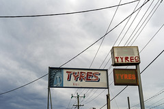 Sunshine (Westographer) Tags: sunshine melbourne australia westernsuburbs suburbia signs signage typography tyres tyressigns powerlines