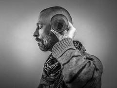 the glass whispers (Gerrit-Jan Visser) Tags: bewerkt portrait self glass calm whisper ear hearing sound