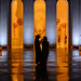 Silhouettes of visitors at Sheikh Zayed Grand Mosque