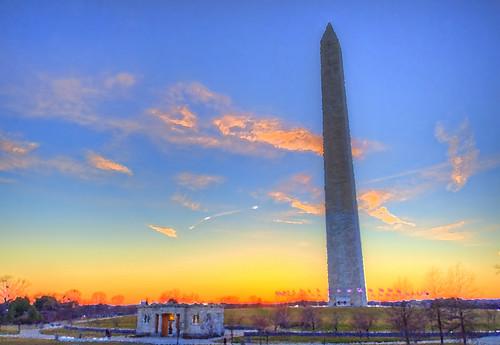 Washington Monument Sunset Painting