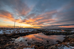 Norwegian Winter sunset. (shotthemessenger) Tags: sunset reflexions winter cold norway smola pond quiet