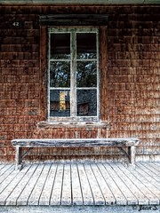... (Jean S..) Tags: house bench seat balcony wood window rural village outdoors