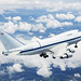 NASA's Boeing 747SP SOFIA airborne observatory soars over a bed of puffy clouds during its second checkout flight over the Texas countryside on May 10, 2007. Original from NASA. Digitally enhanced by rawpixel.
