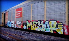 (timetomakethepasta) Tags: mayor d30 freight train graffiti art cp autorack canadian pacific railway weez weezy wyse