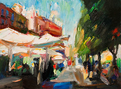 Summer Street Cafe in Granada (http://annafineart.net/) Tags: expressionism imprrssionist contemporary modernart gallery artstudio spain pleinair oilcolors mixed mixedmedia modern landscape landscapes annafineart abstract abstractart abstractpainting art arts painter dailypainter artist oil painting paintings fineart finearts oilmedia oilpainting impasto cityscape city town granada spanish cityscapes street gente pintura colores pastel foto