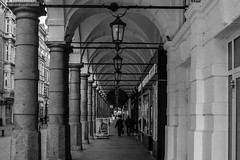 many many more (Özgür Gürgey) Tags: 2018 20mm bw colonnaden d750 hamburg nikon voigtländer arcade architecture cropped grainy people repetition