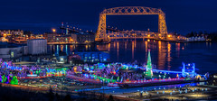 Merry Christmas from the Bentleyville Tour of Lights (Paul Domsten) Tags: bentleyvilletouroflights bentleyville bentleyville2018 duluth minnesota pentax christmaslights lights sesamestreet rudolphtherednosedreindeer cliffordthebigreddog bridge lighthouse lakesuperior engertower christmas liftbridge