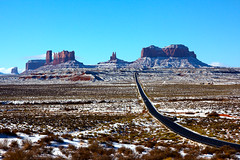 Forrest Gump View (~ Ron ~) Tags: monumentvalley utah milemarker13 sky winter snow landscape desertlandscape sandstone redsandstone highway road highway163