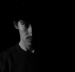 Pierre (Pierre Ballat) Tags: portrait portraitphotography autoportrait lowlight blackandwhite color dark backlight contraste monochrome high contrast face lowkey silhouette