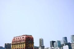 Summer skyline (Eric Flexyourhead) Tags: vancouver canada britishcolumbia bc gastown cordovastreet westcordova city urban cityscape skyline summer sky clear blue bluesky blueskies sonyalphaa7 zeisssonnartfe35mmf28za zeiss 35mmf28
