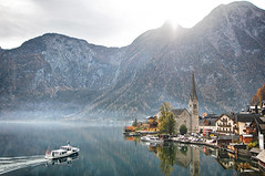 Hallstatt (Matej Rajtár) Tags: hallstatt austria osterreich view panorama village famous lake reflection autumn fall colors colours boat ship waves