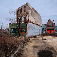 Beautiful Decay (Dalliance with Light (Andy Farmer)) Tags: ridgeave blight eraserhood abandoned building decay samyang8mmf28fisheyeii tree shoppingcart philly philadelphia street pennsylvania unitedstatesofamerica us