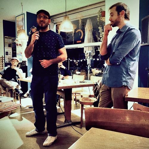 Prix d'Ailleurs. Café littéraire Vevey avec notamment Marc Atallah et (caché derrière) @isaacpante  #Hipstamatic #Katerina #Sponza16