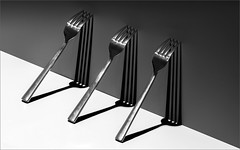 Forks (Jims Fotos) Tags: blackwhite forks stilllife monochrome abstract art canon ef7020028 bw harshlighting shadow shadows lightdark bestcapturesaoi aoi elitegalleryaoi
