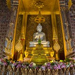 Buddha images inside the replica of Sanphet Prasat palace from Ayutthaya in Muang Boran, Samut Phrakan, Thailand thumbnail