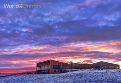 Icelandic Architecture (World_Of_Photos) Tags: minimalist iceland architecture hdr sun set sunset chalet building winter scene selfoss region heavy sky clouds colorful