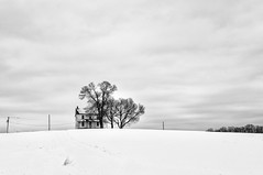 Weather Worn (Dave6163) Tags: winter snow house farm white black trees field abandoned old