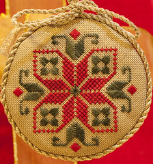 Embroidered Ornament (mimsjodi) Tags: stitched ornament groupchallenge macromondays themestartswithavowel hmm