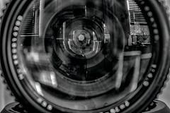 a is for aperture (rosserx) Tags: macromondays vowel lens aperture closeup blackandwhite reflection