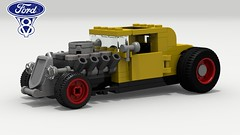 '32 Ford Hot Rod (LegoGuyTom) Tags: 1930s 1932 ford classic vintage american america coupe v8 famous old pov povray power school lego ldd legos digital designer city lxf download dropbox model a hot road rod hotrod