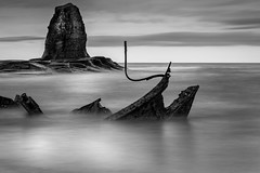 The wreck of the Admiral Von Tromp (jp1422) Tags: cokin nuance jp1422 whitby saltwickbay sea rock seascape smooth admiralvontromp submarinerock shipwreck wreck blackandwhite monochrome