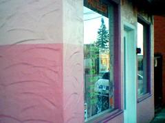 Toy digital silliness - pretty bakery (jfpj) Tags: pink lavender lightblue bakery fairoaks redwoodcity california toydigitalcamera keychaincamera vistaquestvq355