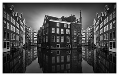Amsterdam Canal Mirrors [On Explore] (Marco Maljaars) Tags: longexposure le house houses monochrome marcomaljaars blackandwhite bw mood serenity canon 70d sky light water city cityscape amsterdam canal old architecture building edit creative