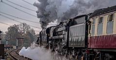 Double heading (Peter Leigh50) Tags: train track railway railroad rail great gcr central locomotive oliver cromwell 70013 black five 5 45305 steam signal fujifilm fuji xt2