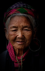 Portrait of a Hmong Lady (Tommy K Le) Tags: portrait lady woman elder old wrinkle hat colorful hmong ethnic vietnam sapa asia fujifilmxt1