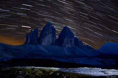 Moving stars (peter-goettlich) Tags: mountains trecime stars star trail italy dolomites sexten lavaredo threepeaks night alps