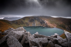 As the wind blows... (Einir Wyn Leigh) Tags: landscape mountains reservoir lake snowdonia gale wind nature rural rugged sky clouds weather storm stones