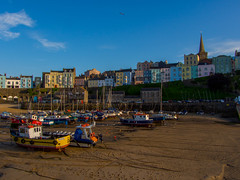 Who's Pulled the Drain Plug out? (RS400) Tags: tenby cool colours colour blue sky clouds wow olympus travel wales pembrokeshire boat boats sand summer time church port uk buildings houses photography