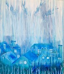Lluvia en mi jardin (Starista Jacobsen) Tags: painting pintura art arte city landscape rain lluvia acrylic canvas blue houses casas fishes fantasy fantasia cielo sky azul