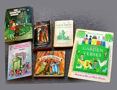 Six random old school books (jasoux) Tags: book books vintagebook vintagebooks illustration childrensbook popupbook artwork bookcover indianajones charlieandthechocolatefactory