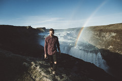 Gullfoss (Alex Karamanov) Tags: light mood atmosphere art color vsco indoor melancholy outdoor landscape contrast nature water watercourse mountains travel tranquility cold reflection loneliness rock surreal desperate nordic mountainside rocks mountain sunset ridge trip yellow black basalt tiny arch sea ocean sky bay cliff man portrait iceland gullfoss waterfall rainbow hipster