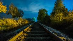 Rails at night (ReppiX) Tags: rails night nacht nightshoot nachtaufnahme nachtfotografie linien himmel geometrisch railroad symetrisch wallpaper nightphotografie clouds sony a7 wolken