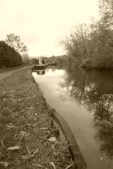Towpath facing east from nr Disley. (Peak Forest Canal) October 2018 (dave_attrill) Tags: peakforest canal disley barges moored towpath peakdistrict cheshire october 2018 sepia monochrome