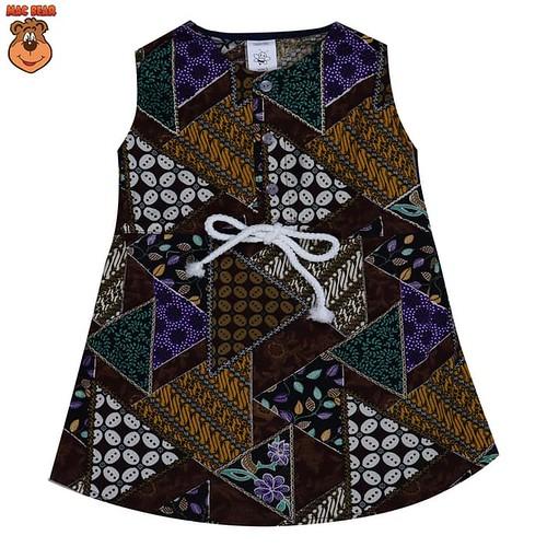 HEMAT bo2-1804 macbee kids baju anak dress batik brown - size 1 cokelat tua