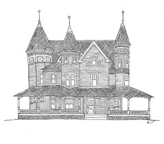 Berlan House (Andrew_JC2) Tags: victorian queenanne pencil drawing tower turret