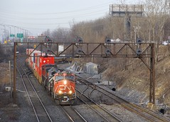 CN 120 (Michael Berry Railfan) Tags: cn2248 bcol4649 cn2587 cn120 train freighttrain intermodaltrain stacktrain doublestacks cofc lachine montreal montrealsub quebec ge generalelectric gevo es44dc dash9 dash944cw bcrail bcol