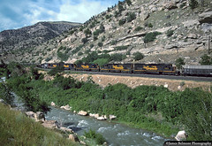 Coal Train in Price Canyon (jamesbelmont) Tags: riogrande drgw coal pricecanyon unittrain lynn nolan railroad railway train locomotive helper sd40t2 emd tunnelmotor