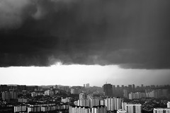 The Perfect Storm (Rob₊Lee) Tags: outside horizon altitude high clouds rain storm building apartments monochrome blackandwhite dark weather tropical shower heavy pouring