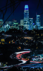 john shelley's path to the city (pbo31) Tags: bayarea california nikon d810 color night dark black city december 2018 boury pbo31 sanfrancisco urban over view skyline lightstream motion traffic roadway salesforce panoramic large stitched panorama highway 101 mclarenpark