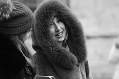 A cold day in Bath (jan.ashdown) Tags: blackandwhite streetphotography street face coat hood england bath