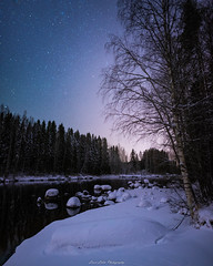 Winter Night. (laurilehtophotography) Tags: suomi finland kapeenkoski river stream nature landscape night winter snow ice nightscape forest trees longexposure nikon d750 sigma 20mm art stars starry